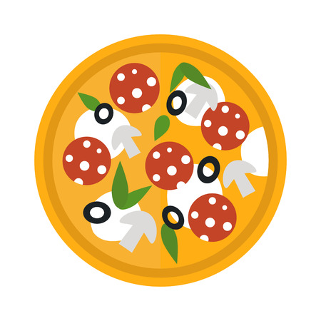 crust: Delicious italian pizza isolated. Pizza top view vector and tasty pizza top view. Pizza top view crust, dinner, tomato and baked pizza top view. Traditional slice meat basil vegetable pizza food.