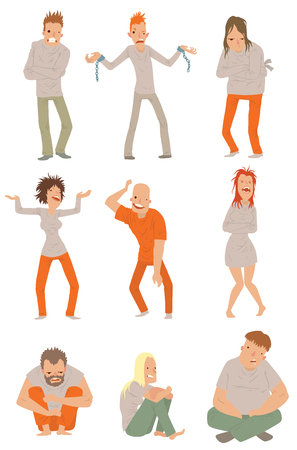 bedridden: Crazy people poses and people crazy concepts. Mad crazy people vector characters and mad crazy people adult expression face. Emotion mad crazy people angry boy. People crazy characters vector. Illustration
