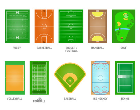 soccer stadium: Green grass on golf field. Green grass game football play soccer stadium playing fields. Goal team ball lawn playing fields playing fields and playing fields playground meadow leisure outdoors league. Illustration