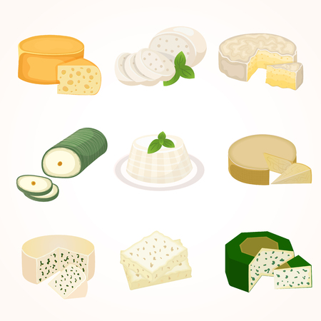 Delicious fresh cheese variety icon flat set isolated vector illustration. Dairy cheese varieties food and milk camembert piece cheese varieties. Different delicatessen gouda cheese varieties . Illustration