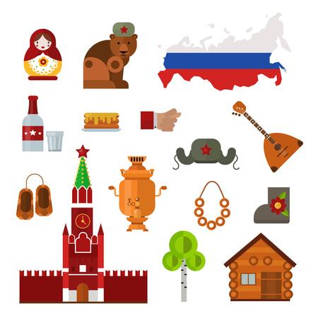 matryoshka doll: Russia landmarks, symbols and Russia icons. Set of Russia themed design elements balalaika, Russian maiden, samovar and matryoshka doll. Russia culture building famous tourism religion symbols.