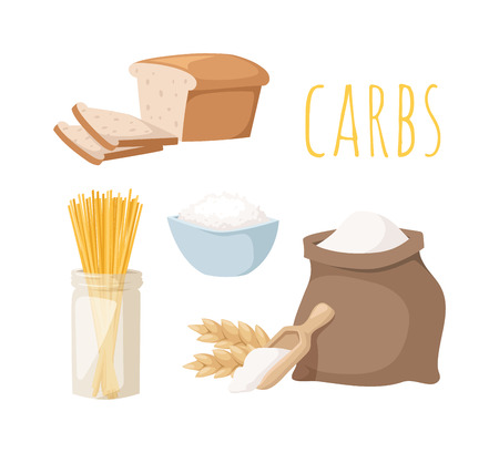 Carbs food isolated on white. Carbs food baked fresh healthy food. Carbs food bread diet meal healthy and rice loaf white carbs food. Bakery fresh eating carbs food ingredient dry spaghetti food. Stock Illustratie