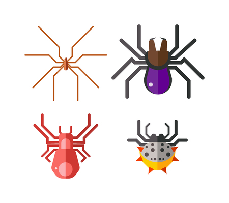 poisonous insect: Set of danger insects on white background. Danger insects vector animal bugs set and danger insects pest nature animal. Infection wildlife disease danger insect and poisonous virus dengue health fever. Illustration