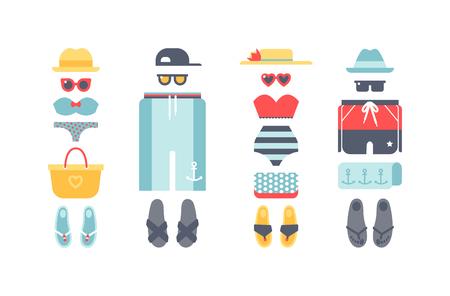 beachwear: Beachwear bikini cloth fashion looks and beachwear vacation lifestyle. Beachwear women collection, beachwear sea light sexy clothes. Beachwear fashion travel different flat vector summer icons.