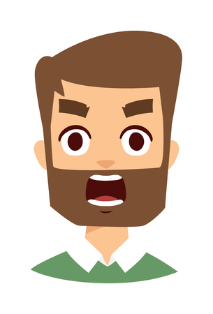 furious: Portrait normal man angry face looking furious. Young man angry face screaming and cartoon angry face character. Angry face vector character and angry face mad adult furious male emotion. Illustration