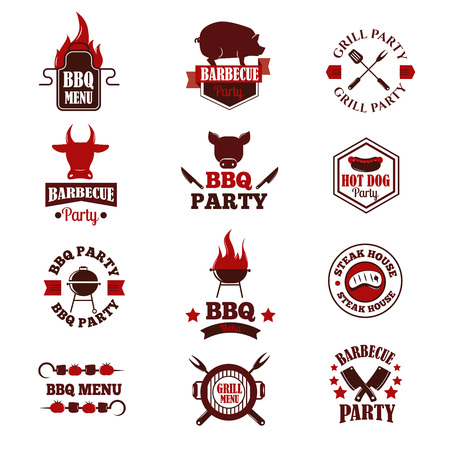 Barbecue logo and grill labels, badges, logos and emblems. Set of BBQ logo vector templates isolated on white background. Steak house restaurant menu BBQ logo design elements. BBQ logo design.