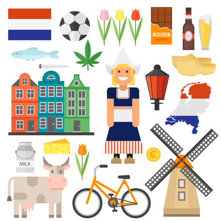 dutch: Netherland flat icons design travel concept vector set. Netherlands symbols travel set and europe culture Netherlands. Netherlands dutch travel europe building culture architecture landmark. Illustration