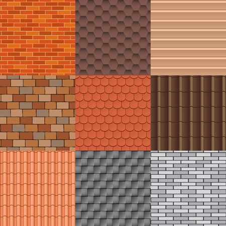 Set of roof tiles of classic buddhist temple. Roof tiles texture and detail roof texture material. Roof tiles exterior construction and roof texture architecture pattern background repeat structure. Vettoriali