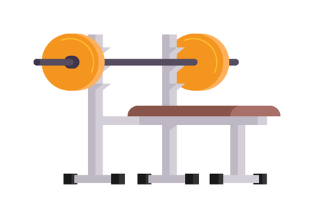 strength training: Weightlifting gym sport with bench barbell and cartoon weightlifting lying vector illustration. Body lying training strength weightlifting lying and weightlifting lying barbell workout equipment.