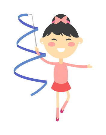 acrobat gymnast: Vector illustration of little girl gymnast performing with ribbon. Girl gymnast exercise fitness young healthy kid and training activity girl gymnast. Girl gymnast cute gym person health acrobat.