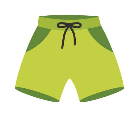 running pants: Green running shorts isolated on white background. Clothing sport running shorts ang apparel fitness fashion running shorts. Pants tennis garment running shorts run, health summer sportswear.