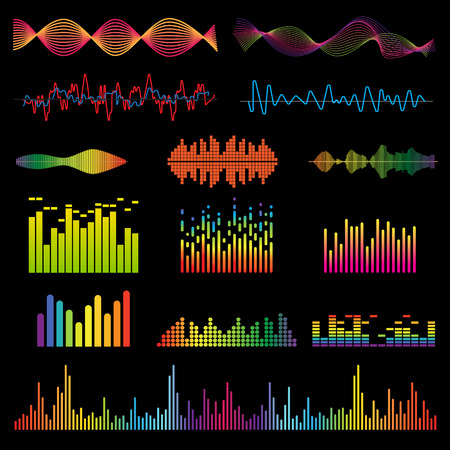 colorful light display: Set color sound waves colorful light audio signal design, digital music waves. Audio equalizer technology, pulse musical audio signal, music waves vector illustration. Audio signal and music waves. Illustration