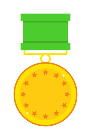 first form: Hero reward form of stars and hero reward vector illustration. Honor achievement success golden hero reward and champion trophy gold first hero reward. Shiny medal star sign hero reward.