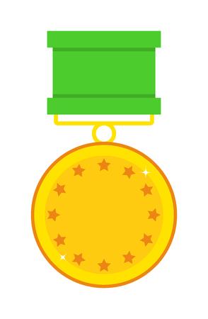 first form: Hero reward form of stars and hero reward vector illustration. Honor achievement success golden hero reward and champion trophy gold first hero reward. Shiny medal star sign hero reward.