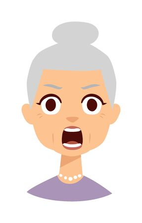 wrinkled face: Old lady expresses shock surprise isolated on white character face avatar. Shocked granny vector and funny old woman shocked granny. Shocked granny elderly grandmother old person with open mouth.