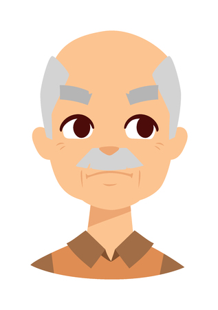 sneaky: Envious man face and old envious man vector illustration. Adult isolated caucasian person jealousy envious man and anger envious man face. Business gray hair envious man, old man surprised.