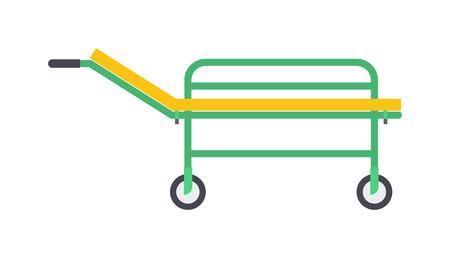paciente en camilla: Vector de color amarillo diseño plano emergencia médica caucho marco camilla de metal negro ruedas ilustración. herramienta hospital de salud de los pacientes aislados y médica camilla atención de emergencia camilla.