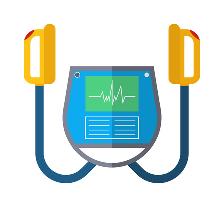 defibrillator: Defibrillator unit isolated medical, heart, cardiac, emergency equipment vector icon. Hart defibrillator equipment and hospital defibrillator. Resuscitation shock cardiology defibrillator care.