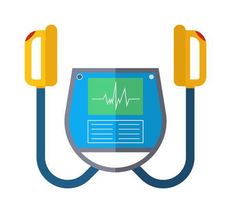 Defibrillator unit isolated medical, heart, cardiac, emergency equipment vector icon. Hart defibrillator equipment and hospital defibrillator. Resuscitation shock cardiology defibrillator care.