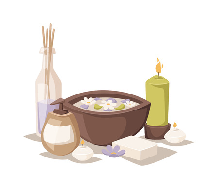 rock salt: Asian spa icons and aroma oil spa symbols. Flower therapy water medicine spa relaxation symbol. Spa sketch icons symbols aroma vector.