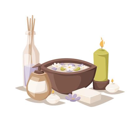 icônes spa asiatiques et des symboles arôme de spa d'huile. Fleur médecine de l'eau de thérapie symbole de relaxation spa. Spa icônes esquisse symboles vecteur d'arôme.