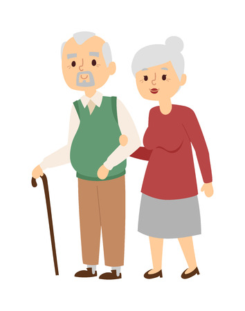 middle aged woman: Portrait of middle aged couple outside house and happy aged people. Aged people walking couple and smiling aged people. Aged people walking together and old mans cane indoors leisure.