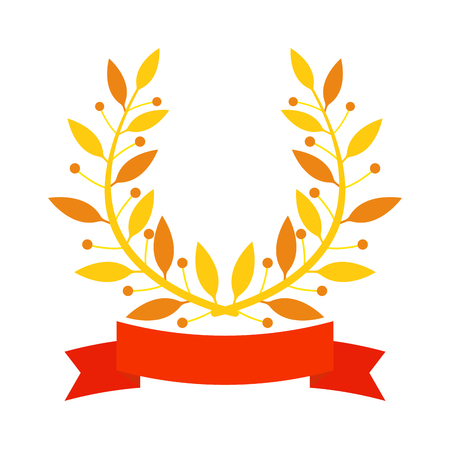 laurel leaf: Laurel wreath branch award and branch award design element. Vector gold branch award and laurel wreath branch award. Winner ornate leaf branch award certified sport champion. Success victory circle. Illustration