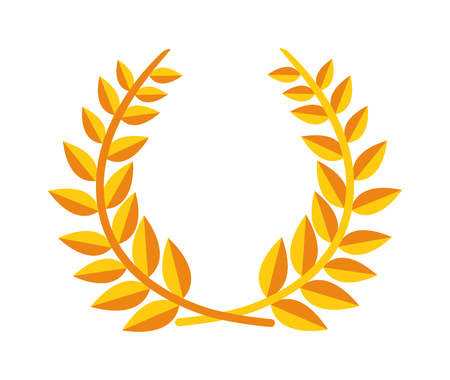 Laurel wreath branch award and branch award design element. Vector gold branch award and laurel wreath branch award. Winner ornate leaf branch award certified sport champion. Success victory circle. 向量圖像