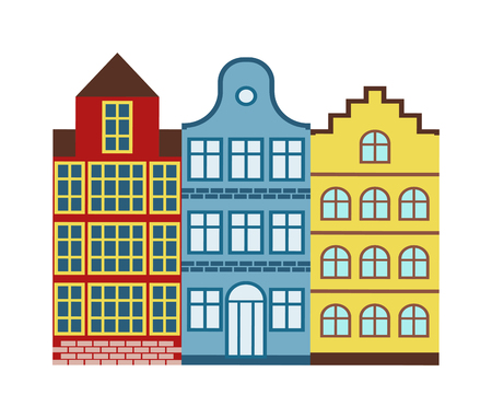Lovely detailed european houses vector and old town village european houses main street illustration. European houses with retro victorian style building facades. European houses town. Stock Illustratie