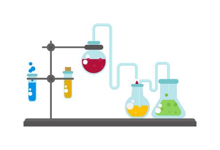 Set of laboratory equipment lab flask and lab flask vector illustration. Lab flask chemistry experiment and analysis equipment lab flask. Biology glassware drug pharmaceutical lab flask.