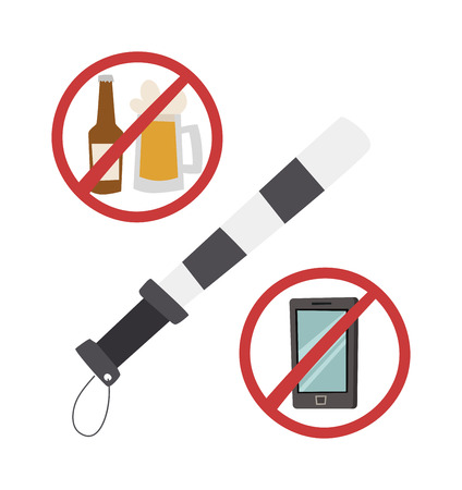 no cell phone sign: Safety belt police baton vector illustration. Road safety no makeup, road safety do not call sign. Road safety danger safety concept. Road safety warning speed protection auto caution.