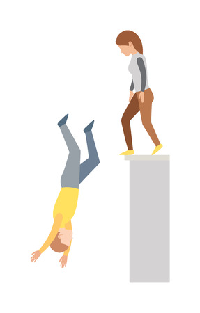 cliff jumping: High jump and hard landing jumping down. Jumping down vector concept and jumping down off cliff. Jumping down upside down, woman suicide, dying man jumping down. Building street urban dangerous. Illustration