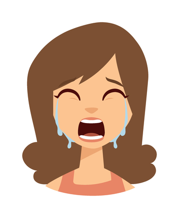 frustration: Unhappy woman crying vector. Woman crying sadness girl and cute woman crying face. Face depressed portrait woman crying and woman crying expression frustration tears eyes problem emotion.