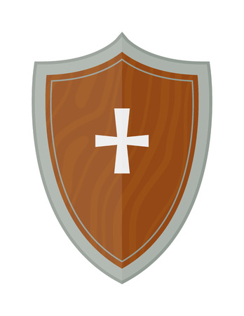 iron cross emblem: Old metal medieval knight shield. Crest template knight shield and knight shield vector icon. Vintage badge protection arms knight shield and knight shield steel antique cross security emblem.