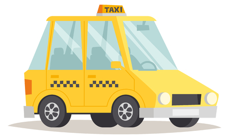 yellow taxi: Taxi yellow car isolated on white background. Vector yellow taxi and cab transport traffic urban yellow taxi. Road street wheel service yellow taxi and yellow taxi speed icon passenger auto.