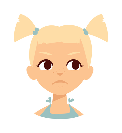 sadness: Sadness baby girl isolated. Sadness baby girl vector and sad baby little girl portrait. Sadness baby girl flat character vector. Sadness baby girl small emotion beautiful kid. Unhappy baby girl.