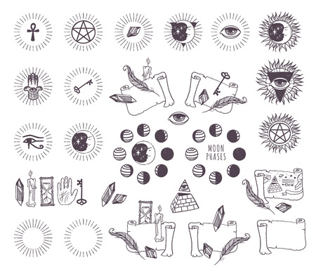 occult: Mystical geometry astrology esoteric symbols set. Linear alchemy astrology esoteric, occult, philosophical sign.  Astrology esoteric imagination, creativity, astrology esoteric religion concept.