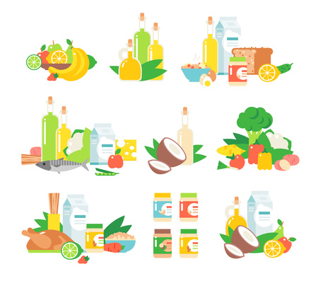boiled eggs: Set of traditional food icons and food vector. Food vector design restaurant lunch and food vector tasty snack eat fish flat element. Food vector cheese junk fast food, traditional food vector dishes.