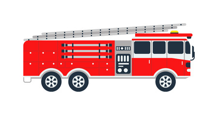 Fire truck rescue engine transportation and vector transport safety fire truck. Firefighter emergency red vehicle fire truck and fire truck assist response burning equipment. Fire truck alarm car.