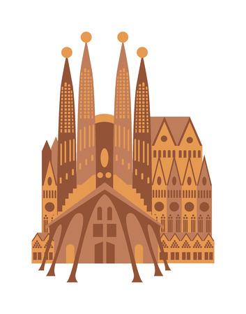 catholicism: Spanish cathedral in historic town square, Spanish cathedral construction and architecture Spanish cathedral. Architecture Spanish cathedral vector church stone catholicism city ancient facade. Illustration