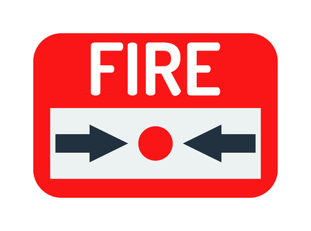 fire hazard: Fire button vector icon and fire button red emergency sign. Warning security system fire button and fire button break flame alert. Fire button rescue building hazard control bell information. Illustration