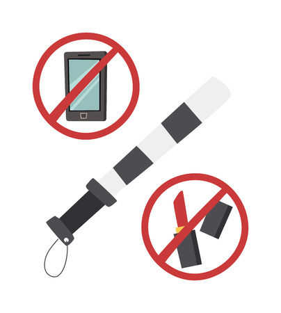 no cell phone: Safety belt police baton vector illustration. Road safety no makeup, road safety do not call sign. Road safety danger safety concept. Road safety warning speed protection auto caution.