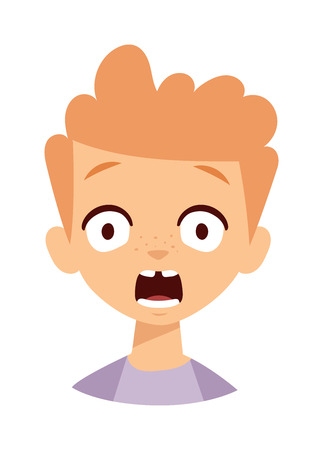 anger kid: Boy makes scary face. Scary boy face vector and cute little scary boy. Cartoon character scary boy emotion face and scary boy sadness innocence bad mood. Cute kid expression emotion face.