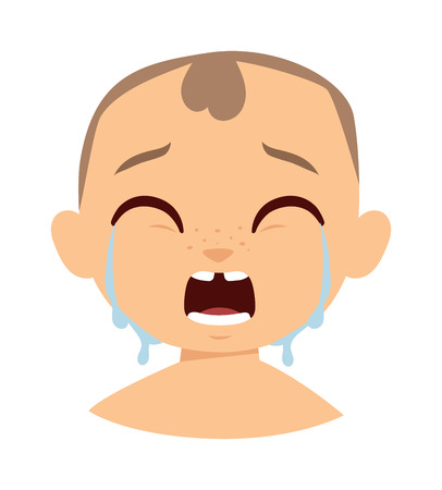 funny baby: Crying baby boy isolated on white and crying boy face character. Crying boy face vector and crying boy face child expression emotion. Little cry young baby unhappy funny facial innocence.