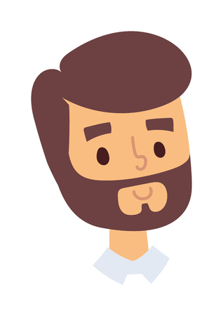 handsome man face: Portrait of a smiling man, isolated on a white background. Happy man face vector icon and happy man face cute flat avatar adult person. Happy man face handsome guy attractive casual man. Illustration