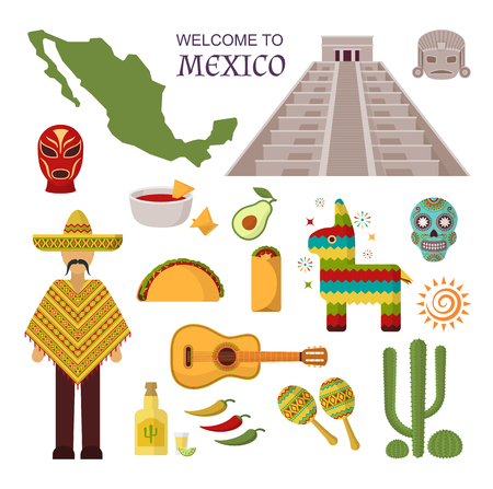 spanish ethnicity: Vector welcome to mexico america guitar set, cactus design icons. Welcome to mexico party fiesta sombrero set. Mexico traditional latin symbols and ethnicity mexico symbols. Spanish tequila sticker Illustration