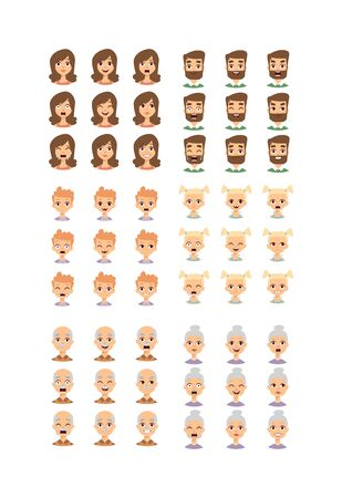 cheerfulness: Group of different people faces and People faces diversity group. People faces vector character and people faces set. Cute children people faces and different senior head cheerful diverse people.