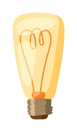 turn yellow: Glowing yellow light bulb, turn on tungsten light bulb isolated. Light bulb vector and electricity power inspiration light bulb. Bright isolated technology invention light bulb, glass light bulb. Illustration