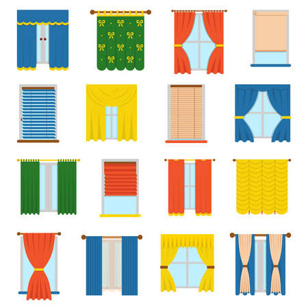 Vector collection various window treatments curtains, drapes, shades, blinds. Flat style blinds flat jalousie vector. Glass decoration blinds vector and interior classic style blinds vector. Stock Illustratie