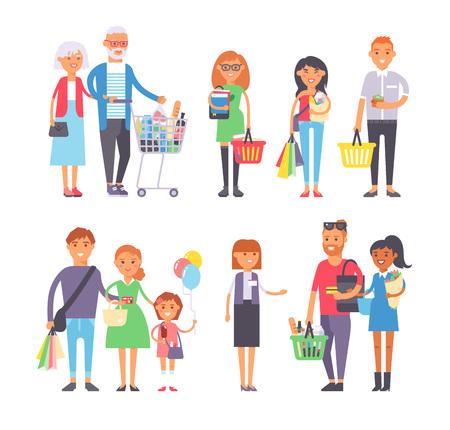 Colección va gente de las compras con bolsas de la compra. Compras de la mujer y el hombre las personas con bolsas. Compras personas colección. gente del estilo llano en el centro comercial de supermercados de comestibles tienda de la figura del vector.